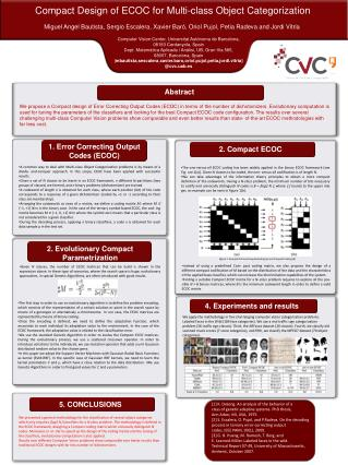 Compact Design of ECOC for Multi-class Object Categorization