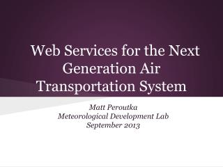 Web Services for the Next Generation Air Transportation System