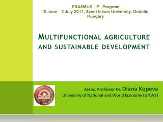 Multifunctional agriculture and sustainable development