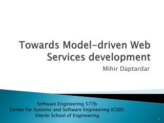 Towards Model-driven Web Services development