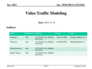 Video Traffic Modeling