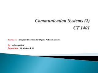Communication Systems (2) CT  1401