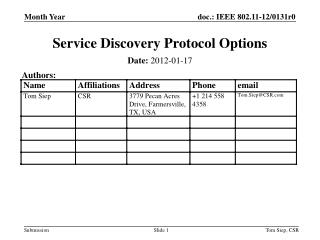 Service Discovery Protocol Options