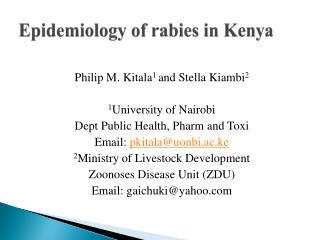 Epidemiology of rabies in Kenya