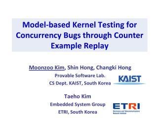 Model-based Kernel Testing for Concurrency Bugs through Counter Example Replay
