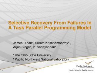 Selective Recovery From Failures In A Task Parallel Programming Model
