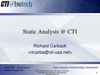 Static Analysis @ CTI