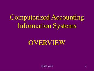 Computerized Accounting Information Systems  OVERVIEW