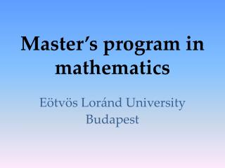 Master's program in mathematics
