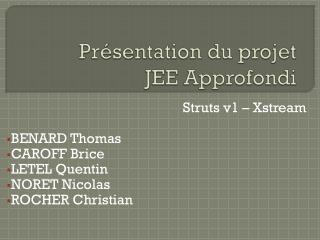 Présentation du projet JEE Approfondi