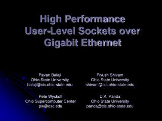 High Performance User-Level Sockets over Gigabit Ethernet