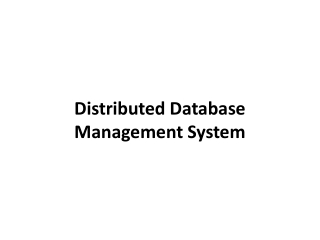 Architectures of Distributed Database Systems