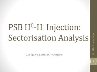 PSB H 0 -H -  Injection: Sectorisation Analysis