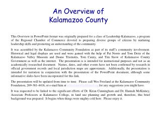 An Overview of Kalamazoo County