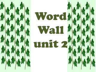 Word  Wall unit 2
