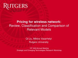 Pricing for wireless network: Review, Classification and Comparison of Relevant Models
