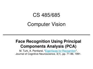 CS 485/685 Computer Vision