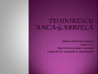 Teodorescu Anca -Gabriela