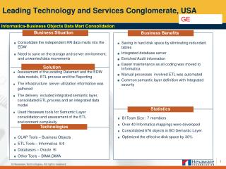 Leading Technology and Services Conglomerate, USA