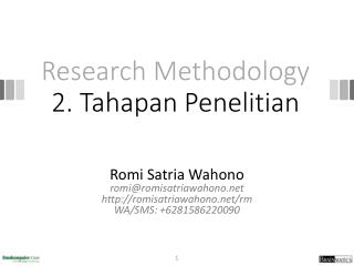 Research Methodology 2.  Tahapan Penelitian