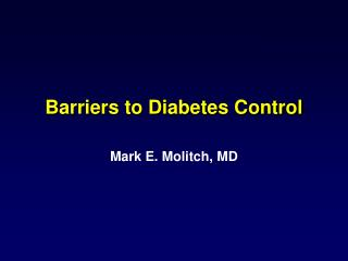 Barriers to Diabetes Control