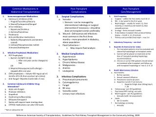 1. Immunosuppressant Medications Calcineurin Inhibitors (CNI) Prograf/Tacrolimus/Hecoria