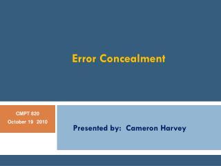 Error Concealment