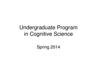 Undergraduate Program in Cognitive Science
