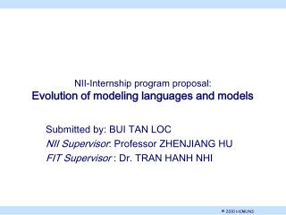 NII-Internship program proposal: Evolution of modeling languages and models