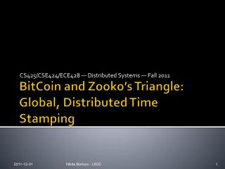 BitCoin  and  Zooko's  Triangle: Global, Distributed Time Stamping