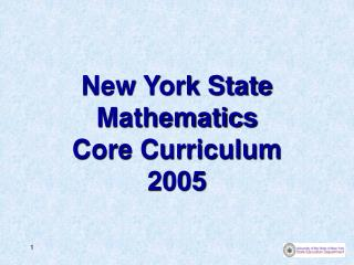New York State Mathematics Core Curriculum 2005