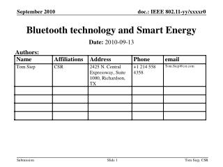 Bluetooth technology and Smart Energy