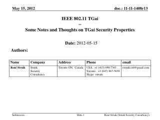 IEEE 802.11  TGai  Some Notes and Thoughts on  TGai  Security Properties