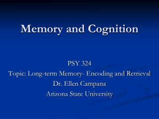 Memory and Cognition