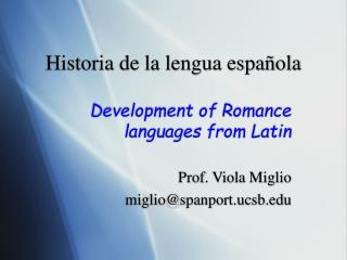 Historia de la lengua espa ñola