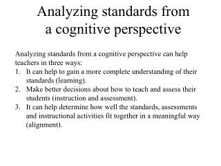 Analyzing standards from a cognitive perspective