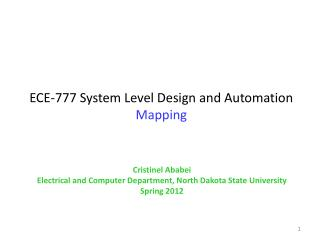 ECE-777 System Level Design and Automation Mapping