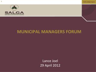 MUNICIPAL MANAGERS FORUM