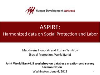 ASPIRE:  Harmonized data on Social Protection and Labor