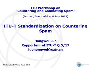 ITU-T Standardization on Countering Spam