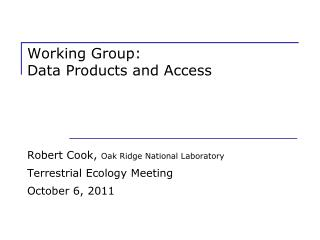 Working Group:   Data Products and Access