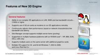 Features of New 3D Engine