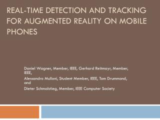 Real-Time Detection and Tracking for Augmented Reality on Mobile Phones