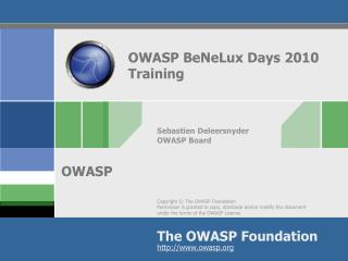 OWASP BeNeLux Days 2010  Training