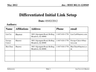 Differentiated Initial Link Setup