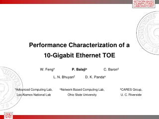 Performance Characterization of a 10-Gigabit Ethernet TOE