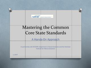Mastering the Common Core State Standards