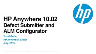 HP Anywhere  10.02  Defect Submitter and  ALM Configurator