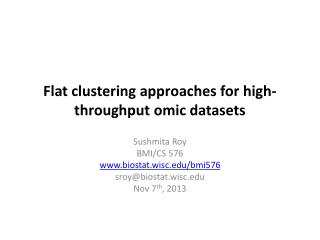Flat clustering approaches for high-throughput  omic  datasets