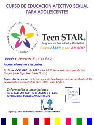 CURSO DE EDUCACION AFECTIVO SEXUAL  PARA ADOLESCENTES